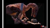 chica cogiendo dinosaurio zoologico