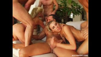 Ass traffic four guys double penetrate two big ...
