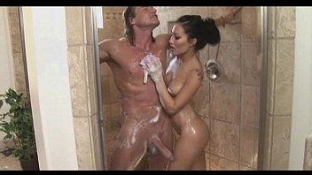 Cute asa akira stroking long cock under shower