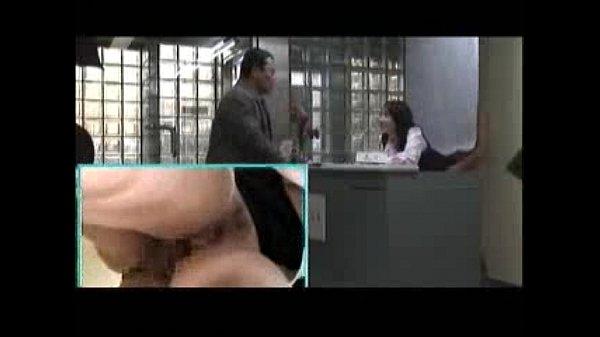 【三十路】若マン毛の多い若妻受付嬢OLが、受付窓口で社内の不倫相手と、来客に気付かれないようにSEXするエロ動画・・・