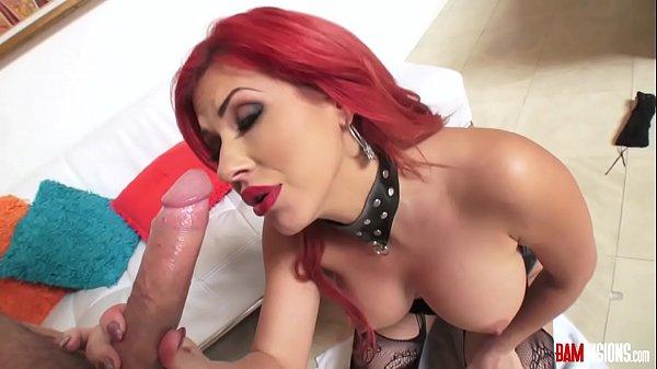 Redhead milf savana stilleri sucks cock, masturbates