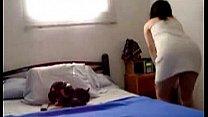 Horny Brunette Babe Masturbates On Her Bed