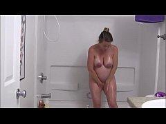 UK pregnant milf showering nasty-hdcamsluts.com