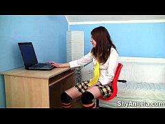 Shy Angela - Teeny masturbating and dildoing in...