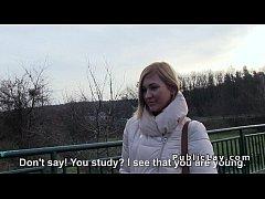 Czech student pays blonde for public sex