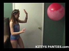 Playful teen Kitty sculpting with playdough