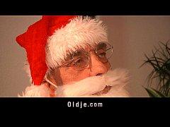 Dirty teen blonde hard ass slapped by Santa Claus