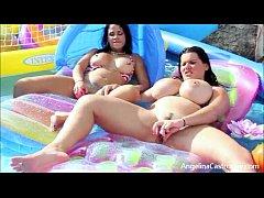 Angelina Castro & Miss Raquel Outdoors pool Mas...