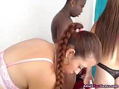 Lucky Black Guy Enjoys Banging Three Hot Latina Chicks