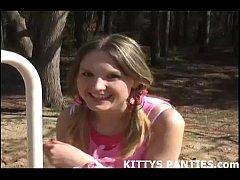 18yo Kitty flashing her panties while solving a...