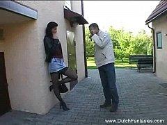 Dutch brunette MILF Fuks Wearing Clothes