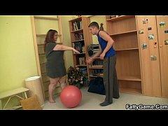 Cute fatty seduces fitness trainer