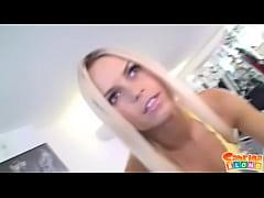Cum-starved blonde slut Sabrina gets semen righ...