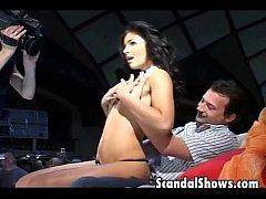 Sexy brunette girl getting naughty