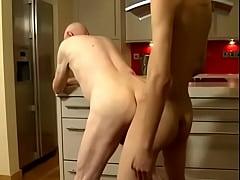 Asian Twink Boy Fucks White Grandpa In The Kitchen