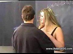 Mature blonde at school