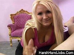 Amy Anderson gives a harsh handjob