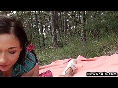 Teen girlfriend anal fucking outdoor on picnic