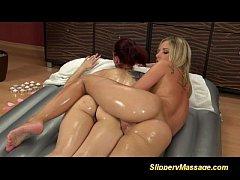Slippery massage lesbian babes
