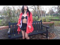 Couragious Chloe Lovettes public flashing and upskirt masturbation of brunette