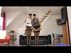 Posh british mature pussyrubbing in stockings