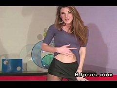 Brunette babe in sheer nylon pantyhose exposes ...