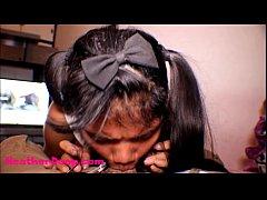Thai Teen Heather Deep gives deepthroat throatp...