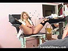 Hot blonde chick seduces an older man