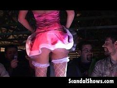 Super hot girl gets naked at strip show