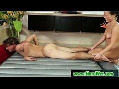 Japanese masseuse gives nuru massage to horny c...