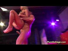 wild threesome fuck on public show stage