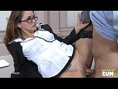 Stockinged Allie Haze riding cock for cum