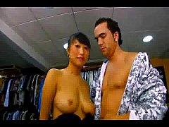 Big tit Asian slut in leggings fucked in a shop