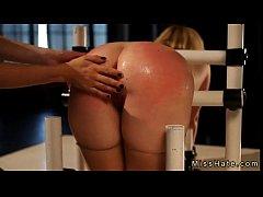 Gagged blonde babe Sasha Knox bubble butt spank...