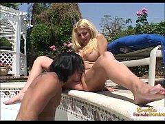 Hot cougar seduces and fucks her pool maintenan...