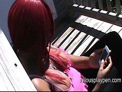 Nilou Achtland-DownBlouse Smoking On Porch #1
