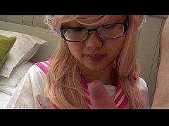 Pink Japanese schoolgirl cosplay blowjob