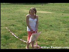 Cute 18yo teen Kitty flying a kite