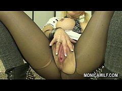 MonicaMilf Orgasm in black nylons - Hot Norwegi...