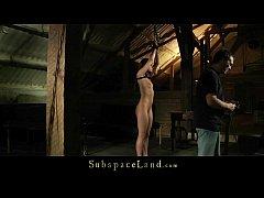 Rough nipple clamps punishment for bondage slav...