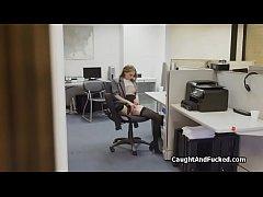 Nerd catches perky secretary fingering