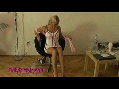 Amateur blond chick Leona gets facial