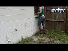 Redhead Tori Bell wetting her jeans female desp...