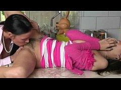 Bushy teen April Oneil and her stepmom Vanilla ...
