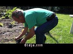 Horny blonde mistress fucks old gardener for bl...