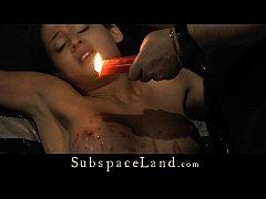 Brunette slave girl hard shakened in the basement
