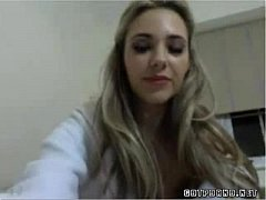 Blonde with great tits rubs and fingers her tig...