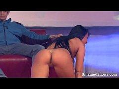 Horny brunette stripper masturbating on the stage
