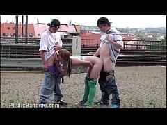 Young teen girl Alexis Crystal PUBLIC sex three...