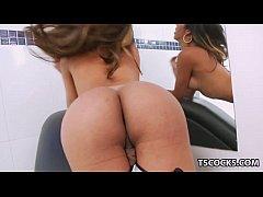 Big boobed latina tranny jerking off her cock